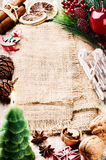 Frame with Christmas vintage decorations Royalty Free Stock Images