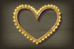 Frame cinema heart on wooden background. Vector illlustration Royalty Free Stock Images