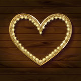 Frame cinema heart on wooden background. Vector illlustration Royalty Free Stock Photography