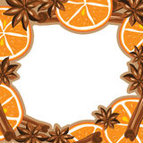 Frame - cinnamon, star anise and orange. Vector Royalty Free Stock Images