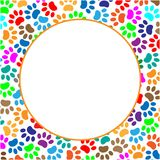 Frame circle with colored paws stock images
