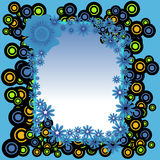 Frame from circles and flowers. Abstract colorful background with blue flowers and more circles Stock Images
