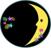 Frame circular de uma lua de incandescência, espirais, flores Fotos de Stock