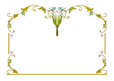 Frame clipart pink flowers blue flowers leaves Stock Images