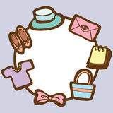 Frame of clothing and accessories on empty space background Stock Images