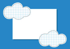 Frame cloud patch suture thread on a blue background Royalty Free Stock Photography