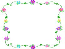 Frame of Clovers and Flowers Royalty Free Stock Photo