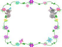 Frame of Clovers, Flowers, and Koalas Royalty Free Stock Images