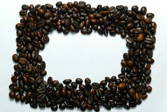 Frame coffee bean with pictures beautifu.l background view from the side wooden table. The concept stock photos