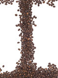 Frame of coffee beans. Frame made of coffee beans on the white background Royalty Free Stock Photography