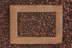 Frame of coffee beans Royalty Free Stock Photo