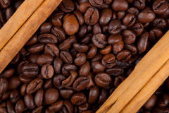 Frame with coffee beans and celyon cinnamon Stock Image