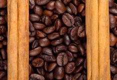 Frame with coffee beans and celyon cinnamon Royalty Free Stock Photography
