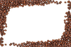 Frame of coffee beans on white Stock Photography