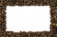 Frame of coffee beans on white background Stock Photography