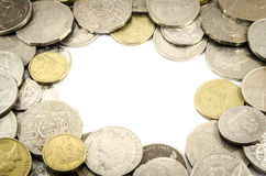 The frame of coin. The coins set for making frame on the white background stock image