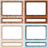 Frame collection. Frame look like postage-stamp with spaces for picture and text Royalty Free Stock Image