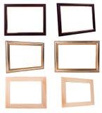 Frame collection. Wood gold vintage dark frames on white Stock Image