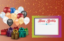 Frame and color balloons and gift boxes Stock Photo