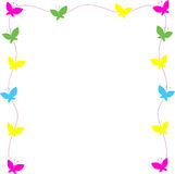 Frame from color butterflies Stock Images