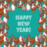 Frame color chicken border new year greeting card. Royalty Free Stock Photography