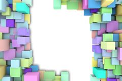Frame color 3D cubes. Abstract background to create banners, covers, posters, cards, etc royalty free illustration