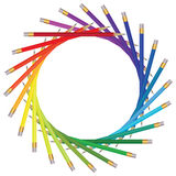 Frame of color pencils. On white Royalty Free Illustration