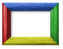Frame with color wooden background Stock Photos