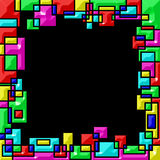 Frame, colorated edges of geometric shapes overlapping. Black background Stock Photo