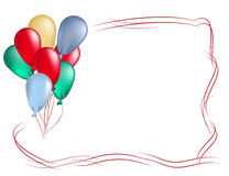 Frame from colored balloons. For birthday greeting card Stock Images