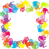 Frame with colored hands. Frame with painted colored hands Royalty Free Stock Photo