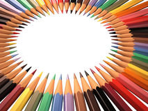 Frame of colored pencils in circle shape Royalty Free Stock Photo