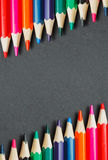Frame of colored pencils Royalty Free Stock Photos