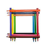 Frame of colored pencils. Isolated on white background Stock Images