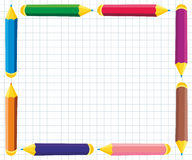 Frame of colored pencils. On notebook sheet Stock Photo