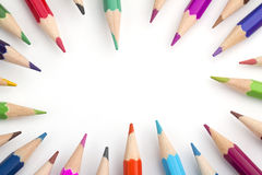 Frame of colored pencils Stock Photography
