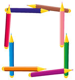 Frame of colored pencils Royalty Free Stock Images