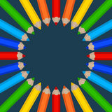 Frame of colored pencils. Vector frame of colored pencils Stock Image