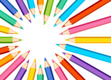 Frame with colored pencils on white background. White background with colored pencils - frame royalty free illustration