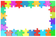 Frame from colored puzzle pieces. 3D rendering Royalty Free Stock Image