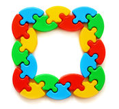 Frame of colored puzzles Stock Photo