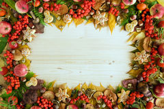 Frame from colorful autumn leaves, mushrooms, rose hips, rowanberry, apples, nuts and cookies on the wooden background. Stock Images