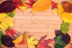 Frame of colorful autumnal leaves, wood background Royalty Free Stock Photos