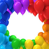 Frame of colorful balloons. 3d render Royalty Free Stock Photo