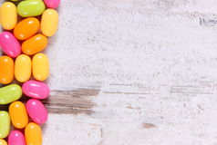 Frame of colorful candies, copy space for text Royalty Free Stock Image
