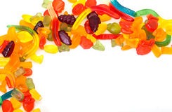 Frame by colorful candies Royalty Free Stock Photography