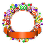 Frame with colorful candies Stock Images