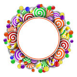 Frame with colorful candies Stock Photography