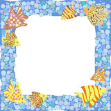 Frame with colorful cartoon fishes. Frame with colorful cute cartoon fishes and bubbles Vector Illustration