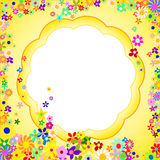 Frame of Colorful Flowers on a Yellow Background Royalty Free Stock Image